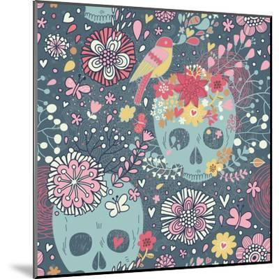 Mexican Concept Background with Flowers, Skulls and Birds-smilewithjul-Mounted Art Print