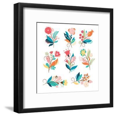 Floral Set-lenlis-Framed Art Print