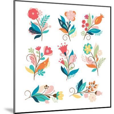 Floral Set-lenlis-Mounted Art Print