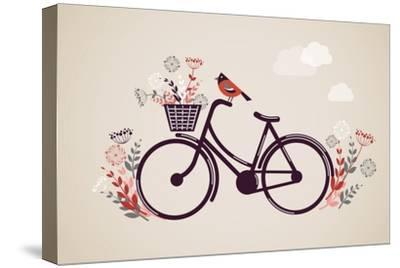 Vintage Retro Bicycle Background with Flowers and Bird-Marish-Stretched Canvas Print