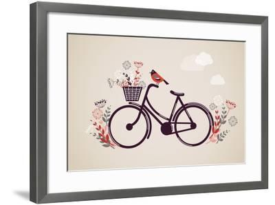 Vintage Retro Bicycle Background with Flowers and Bird-Marish-Framed Art Print