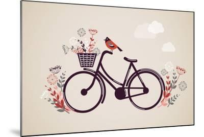 Vintage Retro Bicycle Background with Flowers and Bird-Marish-Mounted Art Print