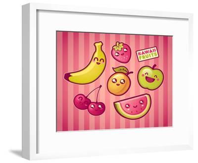Kawaii Smiling Fruits- diarom-Framed Premium Giclee Print