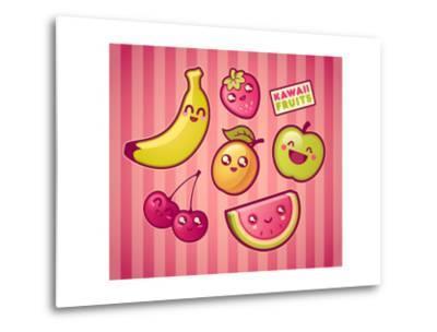 Kawaii Smiling Fruits- diarom-Metal Print