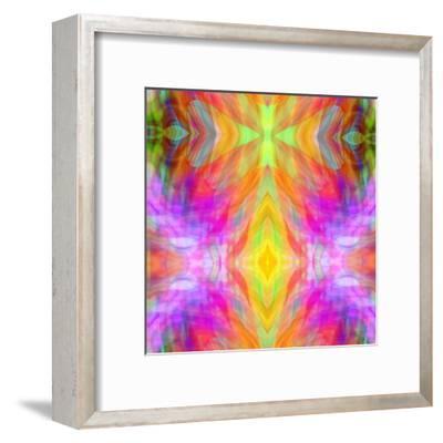 Art Vintage Geometric Ornamental Pattern, Blur Background in Yellow, Lilac, Pink and Red Colors-Irina QQQ-Framed Art Print