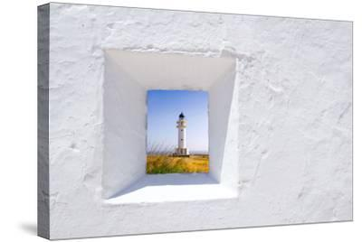 Formentera Mediterranean White Window with Barbaria Lighthouse-holbox-Stretched Canvas Print