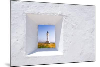 Formentera Mediterranean White Window with Barbaria Lighthouse-holbox-Mounted Art Print