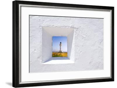 Formentera Mediterranean White Window with Barbaria Lighthouse-holbox-Framed Art Print