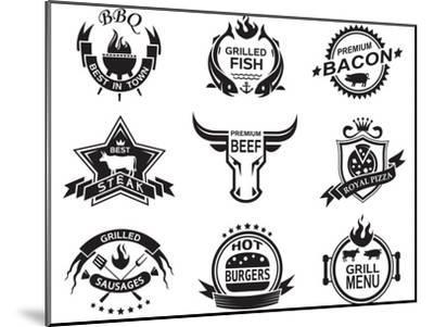 Set of Elements for a Restaurant Designs-Alexkava-Mounted Art Print