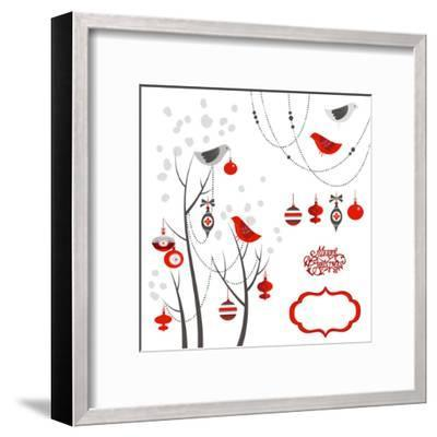 Retro Christmas Card with Two Birds, White Snowflakes, Winter Trees and Baubles-Alisa Foytik-Framed Art Print