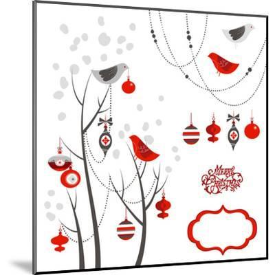 Retro Christmas Card with Two Birds, White Snowflakes, Winter Trees and Baubles-Alisa Foytik-Mounted Art Print