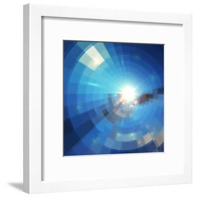 Blue Winter Sunshine in Mosaic Glass Window-art_of_sun-Framed Art Print
