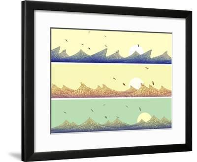 Horizontal Banner: Mosaic of Wave with Foam-Vertyr-Framed Art Print