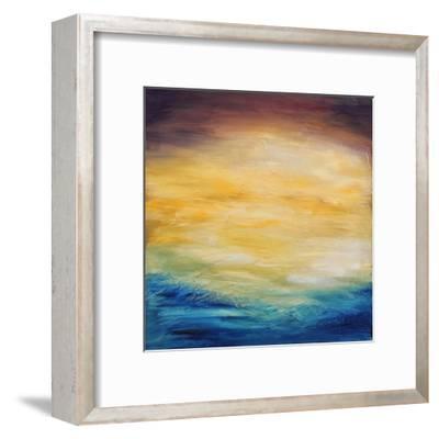 Beautiful Abstract Textured Background of Evening Sunset Sky over the Ocean-Acik-Framed Art Print