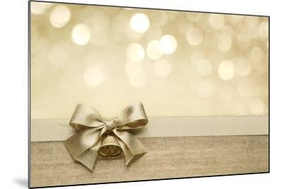Golden Ribbon Bow with Bokeh, Christmas Decoration-Liang Zhang-Mounted Art Print