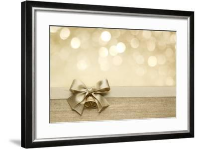 Golden Ribbon Bow with Bokeh, Christmas Decoration-Liang Zhang-Framed Art Print