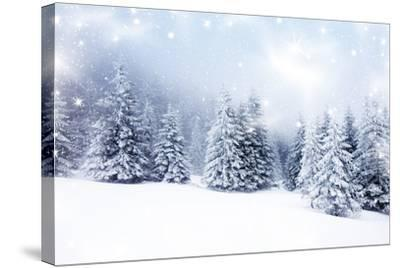 Christmas Background with Snowy Fir Trees-melis-Stretched Canvas Print
