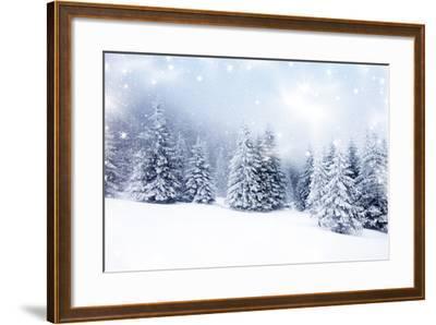 Christmas Background with Snowy Fir Trees-melis-Framed Art Print