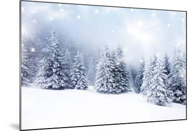 Christmas Background with Snowy Fir Trees-melis-Mounted Art Print