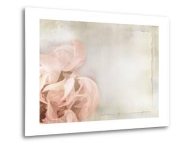 Flower Background in Light Vintage Style on Torn Old Paper Sheet-one AND only-Metal Print
