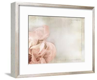 Flower Background in Light Vintage Style on Torn Old Paper Sheet-one AND only-Framed Art Print