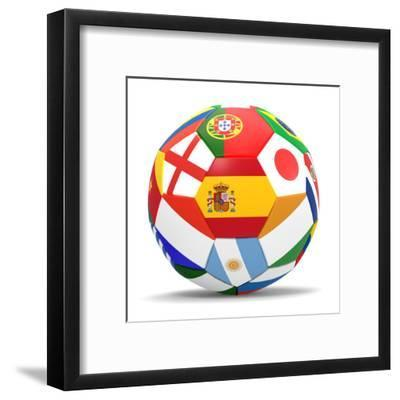 Football and Flags Representing All Countries Participating in Football World Cup in Brazil in 2014-paul prescott-Framed Art Print