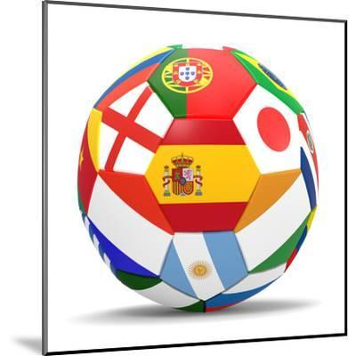 Football and Flags Representing All Countries Participating in Football World Cup in Brazil in 2014-paul prescott-Mounted Art Print