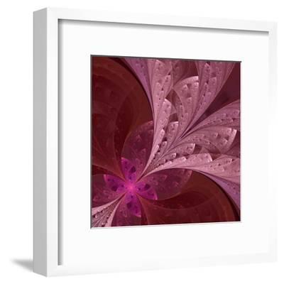 Beautiful Fractal Flower in Vinous and Purple-velirina-Framed Art Print