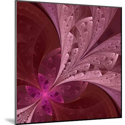 Beautiful Fractal Flower in Vinous and Purple-velirina-Mounted Art Print