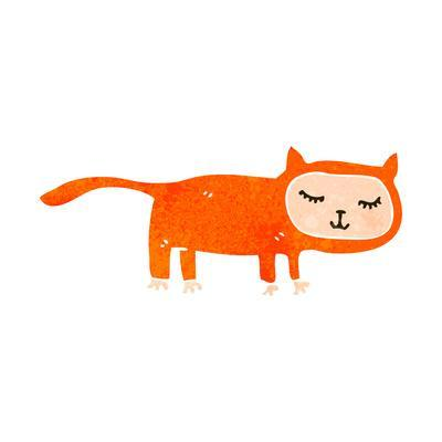 Retro Cartoon Cat Costume-lineartestpilot-Framed Art Print