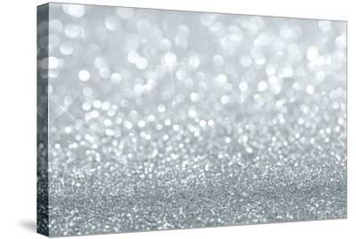 Silver Glitter Background-Rangizzz-Stretched Canvas Print