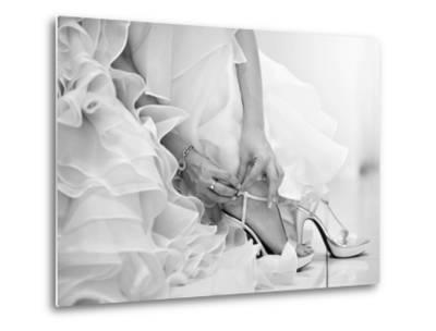 The Bride is Putting on Her Shoes for the Wedding Day-szefei-Metal Print