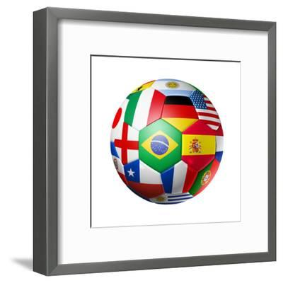 Football Soccer Ball with World Teams Flags-daboost-Framed Art Print