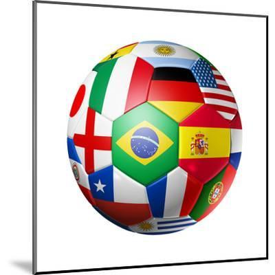 Football Soccer Ball with World Teams Flags-daboost-Mounted Art Print