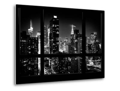 Times Square and 42nd Street with the Empire State Building by Night - Manhattan, New York, USA-Philippe Hugonnard-Metal Print