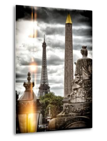 Instants of Series - Place de la Concorde with Obelisk and Eiffel Tower View - Paris, France-Philippe Hugonnard-Metal Print