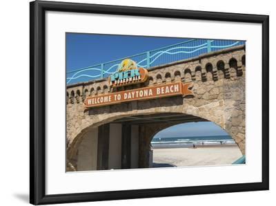 USA, Florida, Daytona Beach, Welcome sign to Main Street Pier.-Lisa S^ Engelbrecht-Framed Photographic Print