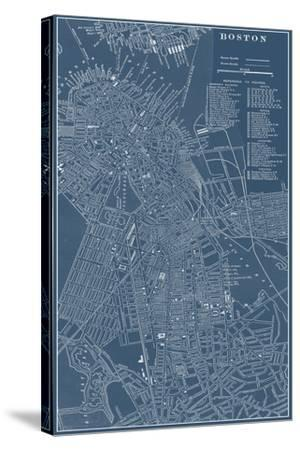 Graphic Map of Boston-Vision Studio-Stretched Canvas Print