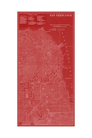Graphic Map of San Francisco-Vision Studio-Framed Premium Giclee Print