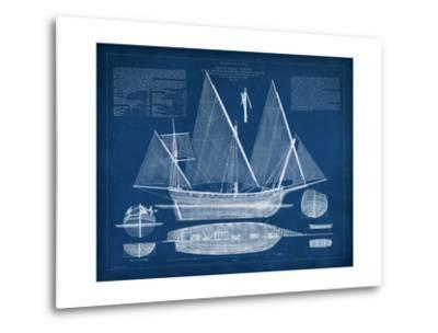 Antique Ship Blueprint III-Vision Studio-Metal Print
