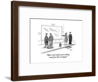 """""""Officer, that couple is just walking away from their mortgage!"""" - New Yorker Cartoon-Tom Cheney-Framed Premium Giclee Print"""