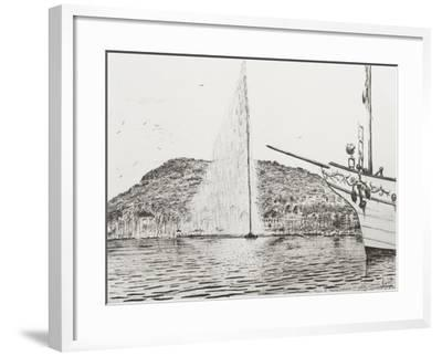 Geneva, Fountain and Bow of Pleasure Boat-Vincent Booth-Framed Giclee Print