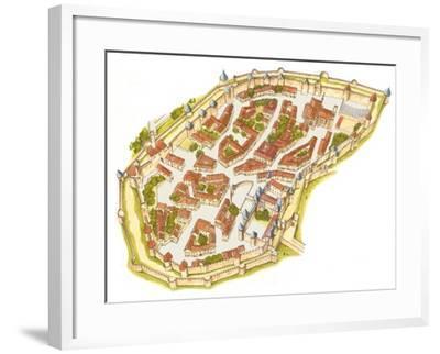 Carcassonne, France, Aerial View-Fernando Aznar Cenamor-Framed Giclee Print