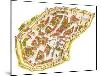 Carcassonne, France, Aerial View-Fernando Aznar Cenamor-Mounted Giclee Print