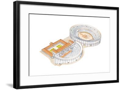 Roman Theatre and Amphitheatre, Reconstruction, Merida, Spain-Fernando Aznar Cenamor-Framed Giclee Print