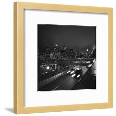 Brooklyn Bridge Traffic with Manhattan View at Night-Henri Silberman-Framed Photographic Print