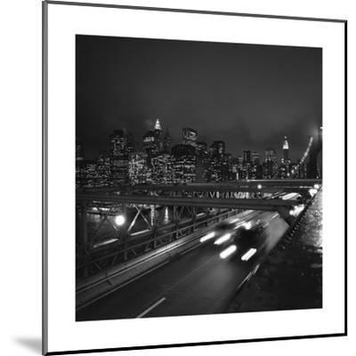 Brooklyn Bridge Traffic with Manhattan View at Night-Henri Silberman-Mounted Photographic Print