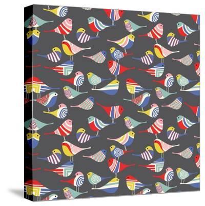 Modern Bird Flock--Stretched Canvas Print