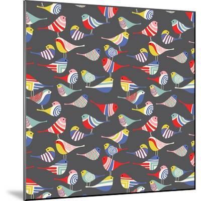 Modern Bird Flock--Mounted Giclee Print