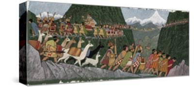 A Victorious Inca Emperor and His Army March Home to Cuzco-Ned M. Seidler-Stretched Canvas Print